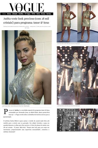 Clipping Anitta: Anitta veste look Carlos Miele para programa Amor&Sexo;