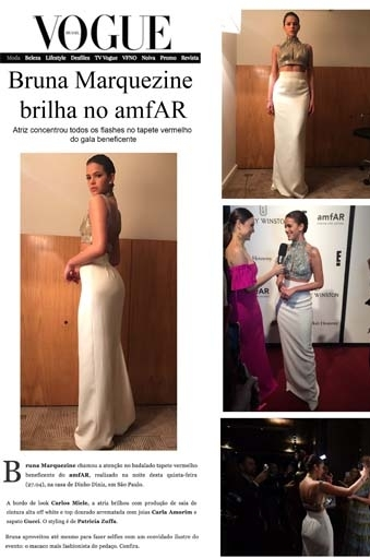 Clipping Vogue: Bruna Marquezine brilha no AMFAR com look Carlos Miele