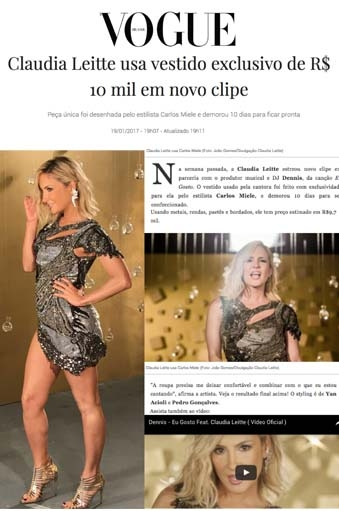Clipping Vogue: Claudia Leitte veste Carlos Miele em seu novo clipe