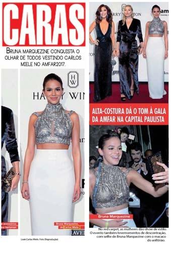 Clipping Caras: Bruna Marquezine conquista o olhar de todos vestindo Carlos Miele no AMFAR 2017